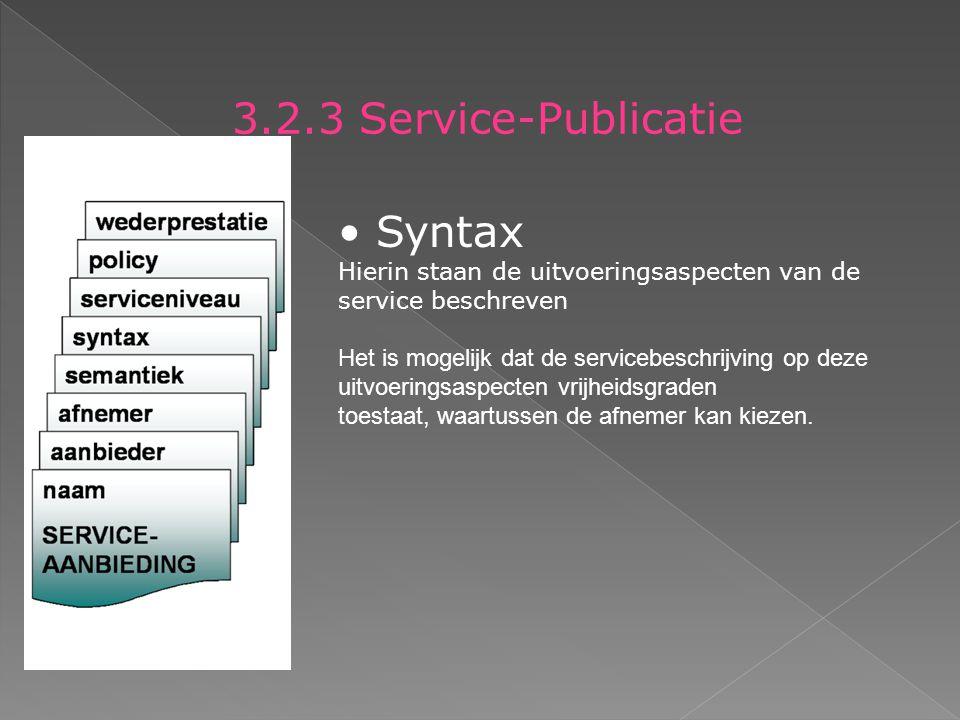 3.2.3 Service-Publicatie Syntax Hierin staan de uitvoeringsaspecten van de service beschreven Het is mogelijk dat de servicebeschrijving op deze uitvoeringsaspecten vrijheidsgraden toestaat, waartussen de afnemer kan kiezen.