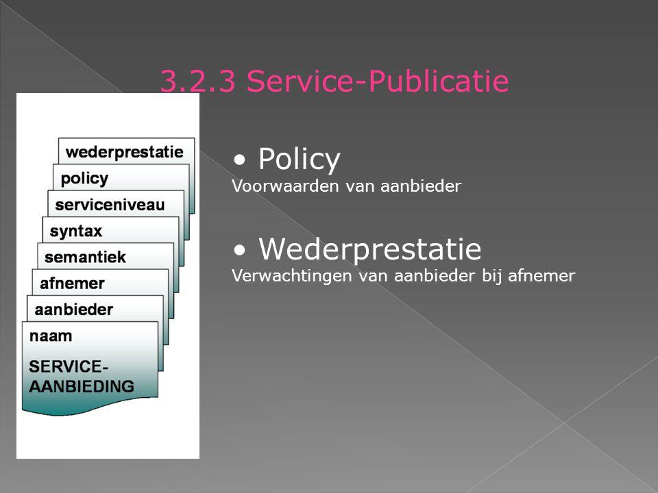 3.2.3 Service-Publicatie Policy Voorwaarden van aanbieder Wederprestatie Verwachtingen van aanbieder bij afnemer