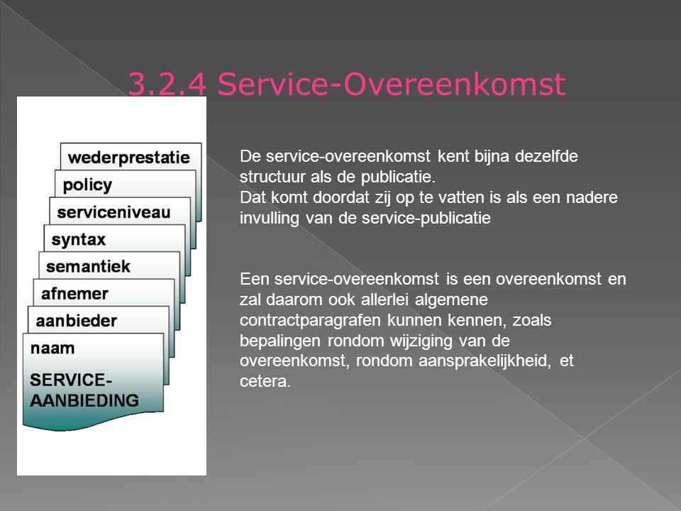 3.2.4 Service-Overeenkomst De service-overeenkomst kent bijna dezelfde structuur als de publicatie.