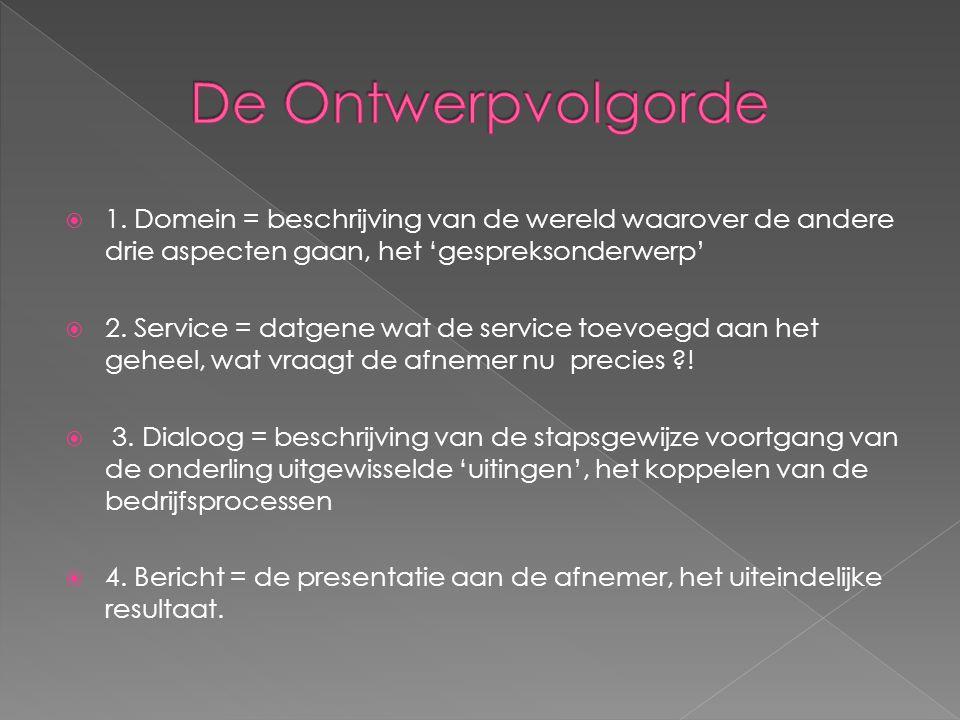  1. Domein = beschrijving van de wereld waarover de andere drie aspecten gaan, het 'gespreksonderwerp'  2. Service = datgene wat de service toevoegd