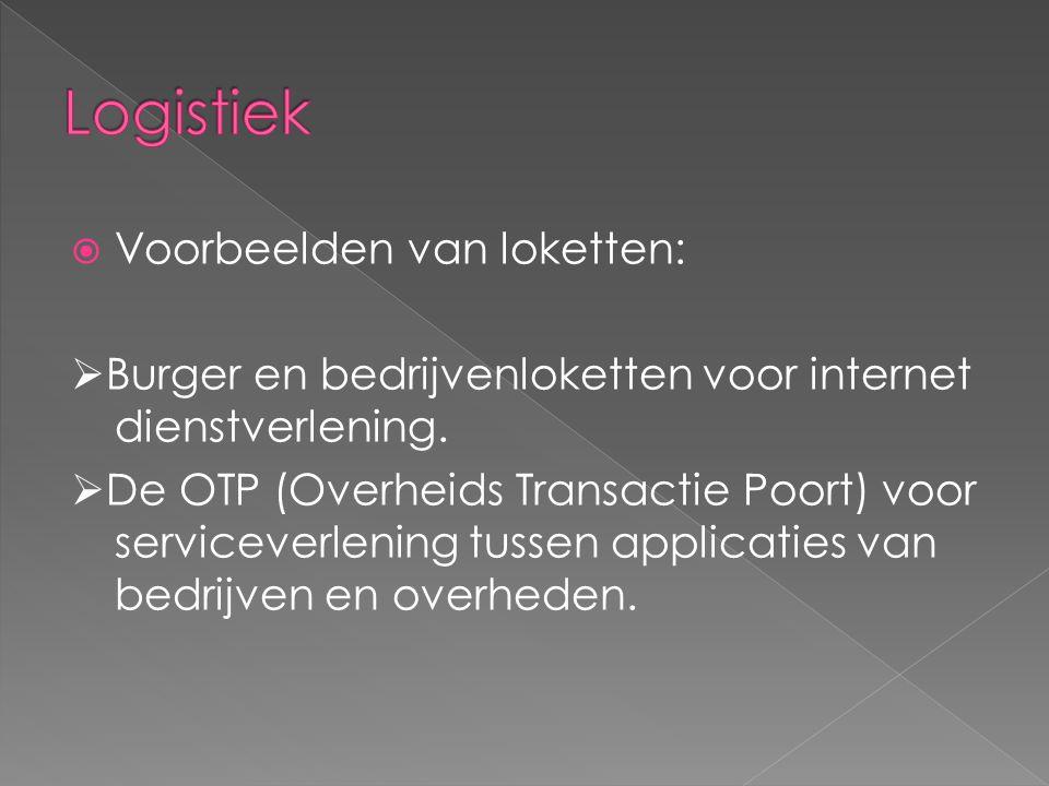  Voorbeelden van loketten:  Burger en bedrijvenloketten voor internet dienstverlening.