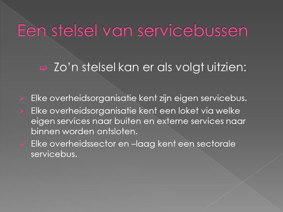  Zo'n stelsel kan er als volgt uitzien:  Elke overheidsorganisatie kent zijn eigen servicebus.