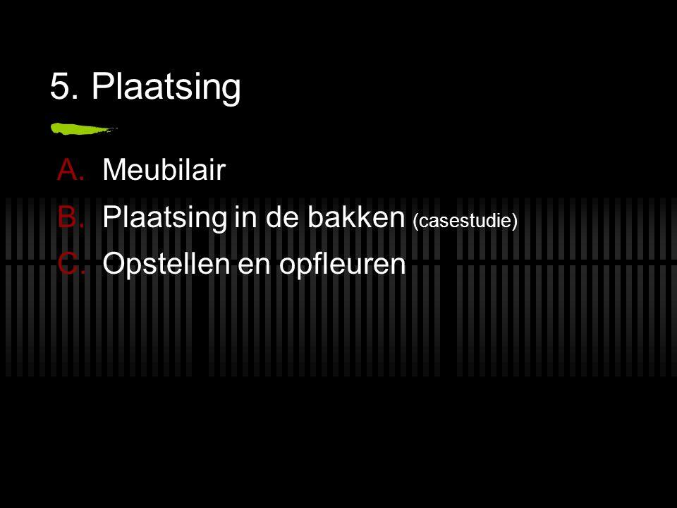 5. Plaatsing A.Meubilair B.Plaatsing in de bakken (casestudie) C.Opstellen en opfleuren
