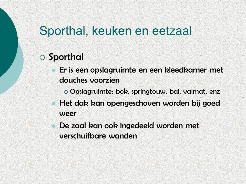 Sporthal, keuken en eetzaal  Sporthal Er is een opslagruimte en een kleedkamer met douches voorzien  Opslagruimte: bok, springtouw, bal, valmat, enz