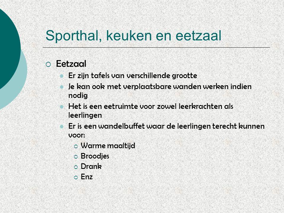 Sporthal, keuken en eetzaal  Eetzaal Er zijn tafels van verschillende grootte Je kan ook met verplaatsbare wanden werken indien nodig Het is een eetr