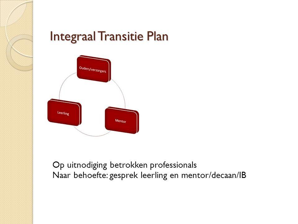 Integraal Transitie Plan Op uitnodiging betrokken professionals Naar behoefte: gesprek leerling en mentor/decaan/IB