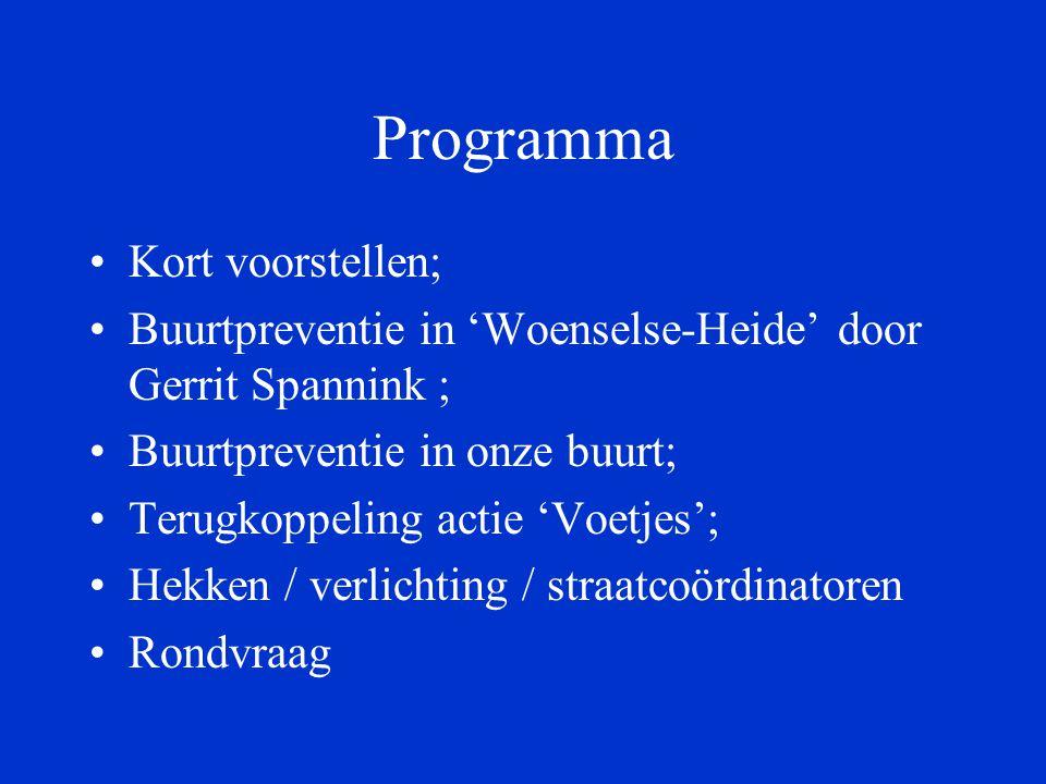 Programma Kort voorstellen; Buurtpreventie in 'Woenselse-Heide' door Gerrit Spannink ; Buurtpreventie in onze buurt; Terugkoppeling actie 'Voetjes'; Hekken / verlichting / straatcoördinatoren Rondvraag