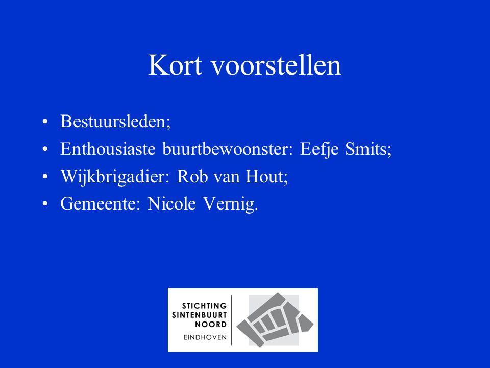 Kort voorstellen Bestuursleden; Enthousiaste buurtbewoonster: Eefje Smits; Wijkbrigadier: Rob van Hout; Gemeente: Nicole Vernig.