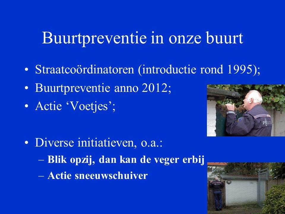 Buurtpreventie in onze buurt Straatcoördinatoren (introductie rond 1995); Buurtpreventie anno 2012; Actie 'Voetjes'; Diverse initiatieven, o.a.: –Blik opzij, dan kan de veger erbij –Actie sneeuwschuiver