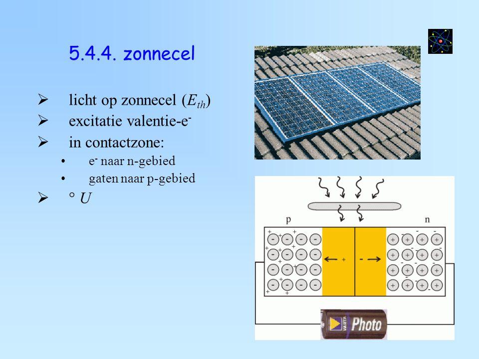 5.4.3. fotodiode  sperzin  e - nemen thermische energie (uit licht) op  excitatie van e -  I is afh van hoeveelheid licht  Toep : rookalarm, alar