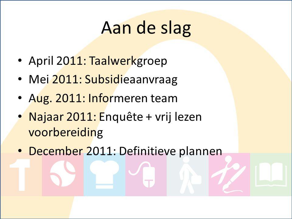 Aan de slag April 2011: Taalwerkgroep Mei 2011: Subsidieaanvraag Aug. 2011: Informeren team Najaar 2011: Enquête + vrij lezen voorbereiding December 2
