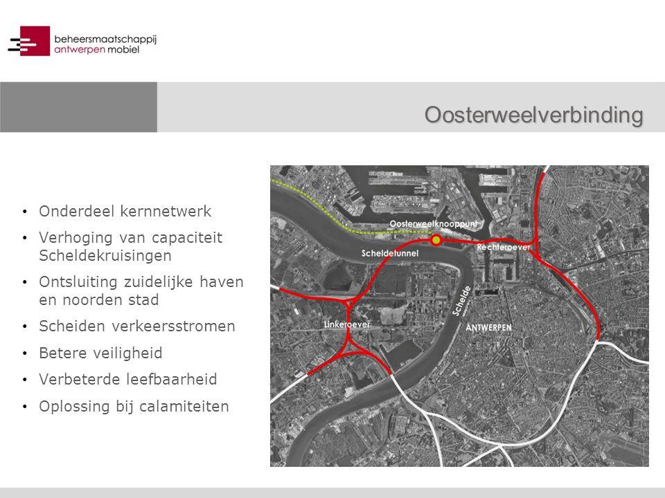 Onderdeel kernnetwerk Verhoging van capaciteit Scheldekruisingen Ontsluiting zuidelijke haven en noorden stad Scheiden verkeersstromen Betere veilighe