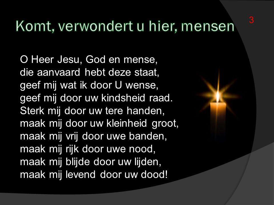 O Heer Jesu, God en mense, die aanvaard hebt deze staat, geef mij wat ik door U wense, geef mij door uw kindsheid raad. Sterk mij door uw tere handen,
