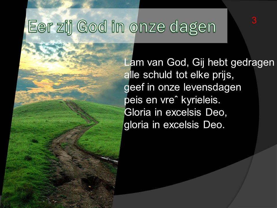 Lam van God, Gij hebt gedragen alle schuld tot elke prijs, geef in onze levensdagen peis en vreˆ kyrieleis. Gloria in excelsis Deo, gloria in excelsis
