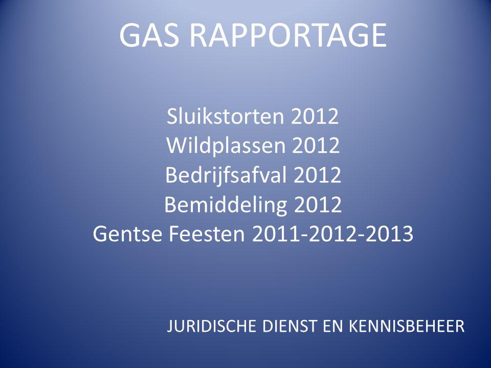 GAS RAPPORTAGE Sluikstorten 2012 Wildplassen 2012 Bedrijfsafval 2012 Bemiddeling 2012 Gentse Feesten 2011-2012-2013 JURIDISCHE DIENST EN KENNISBEHEER