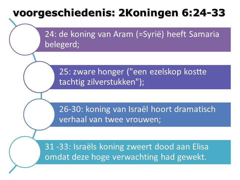 24: de koning van Aram (=Syrië) heeft Samaria belegerd; 25: zware honger ( een ezelskop kostte tachtig zilverstukken ); 26-30: koning van Israël hoort dramatisch verhaal van twee vrouwen; 31 -33: Israëls koning zweert dood aan Elisa omdat deze hoge verwachting had gewekt.