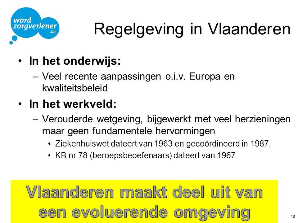 Regelgeving in Vlaanderen In het onderwijs: –Veel recente aanpassingen o.i.v. Europa en kwaliteitsbeleid In het werkveld: –Verouderde wetgeving, bijge