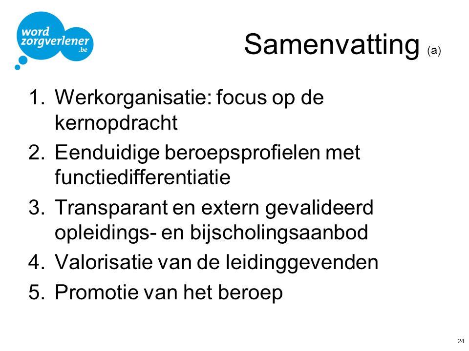 Samenvatting (a) 1.Werkorganisatie: focus op de kernopdracht 2.Eenduidige beroepsprofielen met functiedifferentiatie 3.Transparant en extern gevalidee