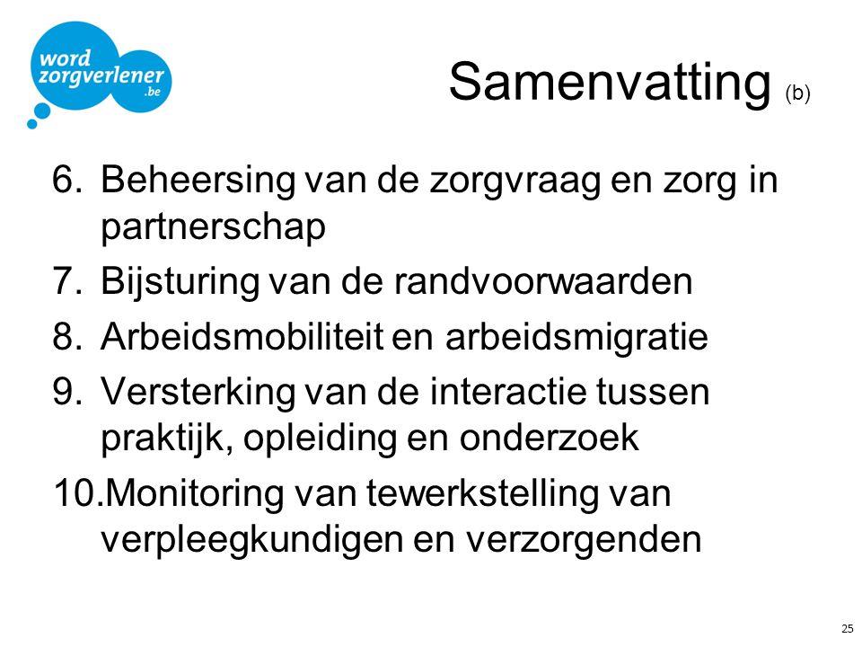 Samenvatting (b) 6.Beheersing van de zorgvraag en zorg in partnerschap 7.Bijsturing van de randvoorwaarden 8.Arbeidsmobiliteit en arbeidsmigratie 9.Ve