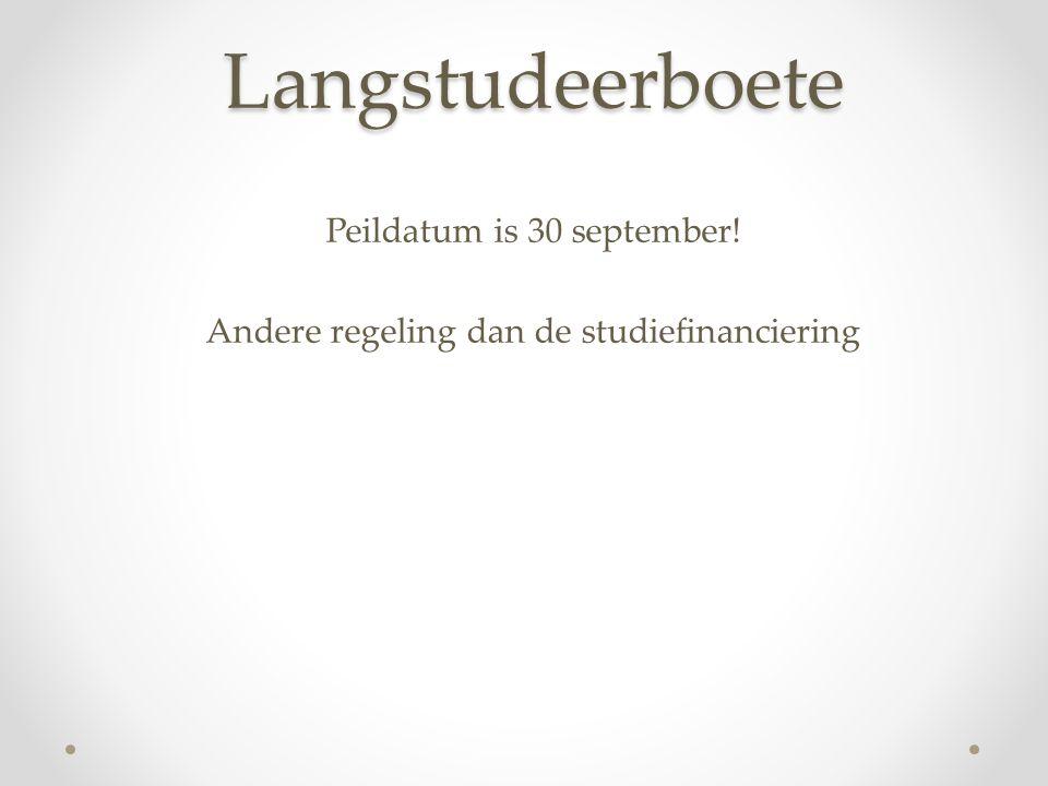 Langstudeerboete Peildatum is 30 september! Andere regeling dan de studiefinanciering