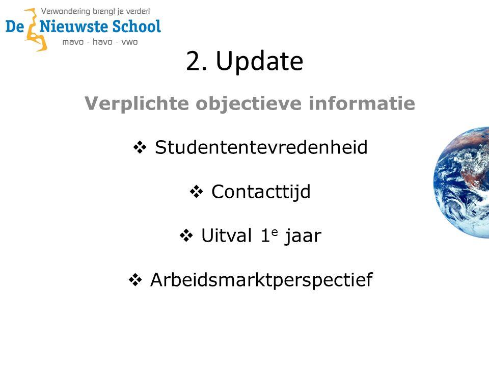 2. Update Verplichte objectieve informatie  Studententevredenheid  Contacttijd  Uitval 1 e jaar  Arbeidsmarktperspectief