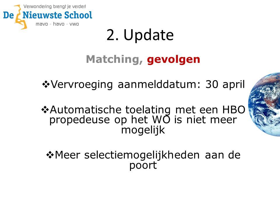 2. Update Matching, gevolgen  Vervroeging aanmelddatum: 30 april  Automatische toelating met een HBO propedeuse op het WO is niet meer mogelijk  Me