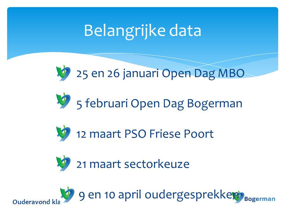 Ouderavond klas 2 Belangrijke data 25 en 26 januari Open Dag MBO 5 februari Open Dag Bogerman 12 maart PSO Friese Poort 21 maart sectorkeuze 9 en 10 a