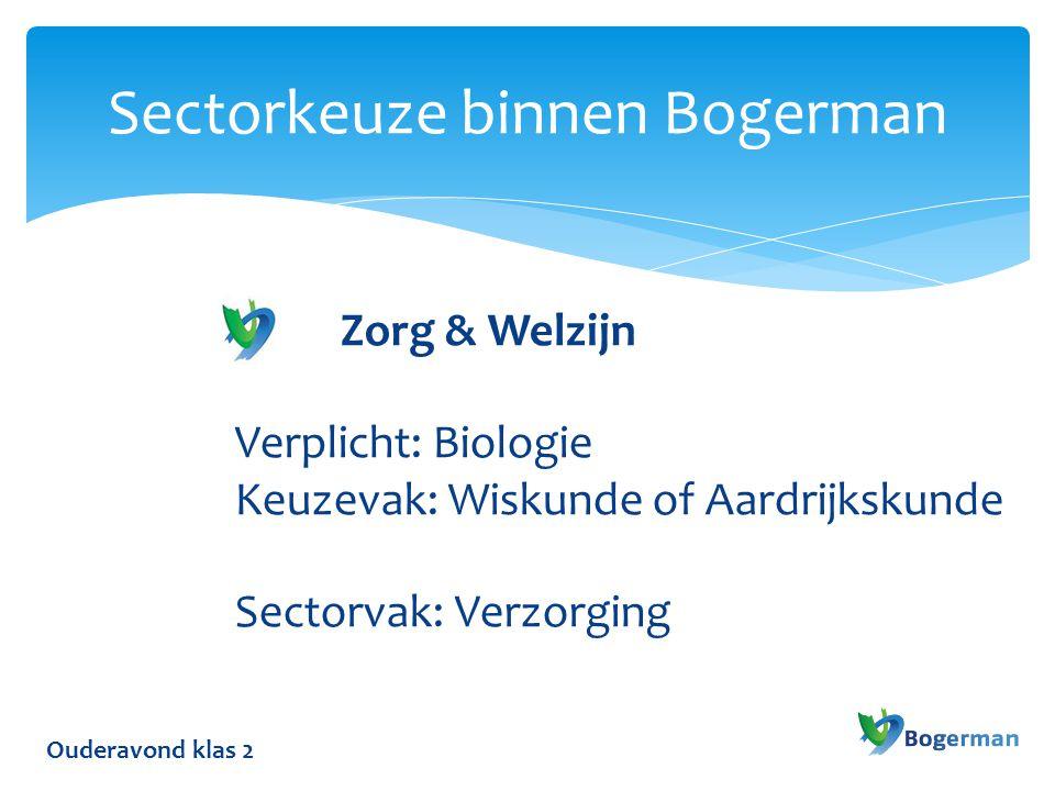 Ouderavond klas 2 Sectorkeuze binnen Bogerman Zorg & Welzijn Verplicht: Biologie Keuzevak: Wiskunde of Aardrijkskunde Sectorvak: Verzorging