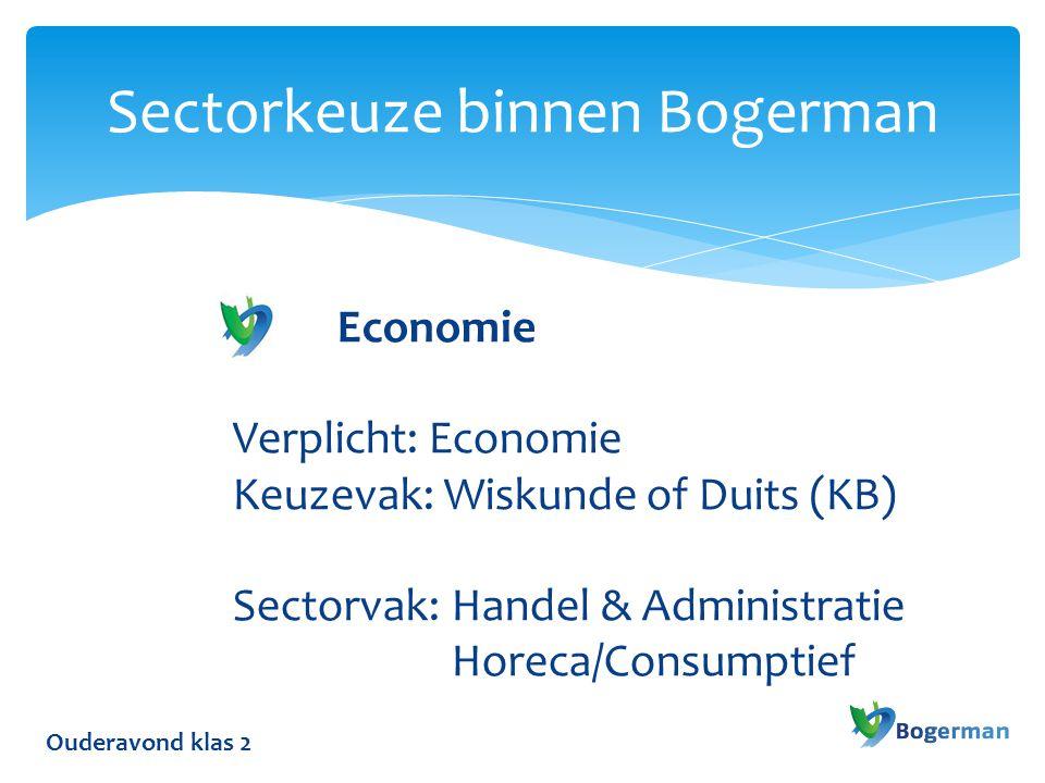 Ouderavond klas 2 Sectorkeuze binnen Bogerman Economie Verplicht: Economie Keuzevak: Wiskunde of Duits (KB) Sectorvak: Handel & Administratie Horeca/Consumptief