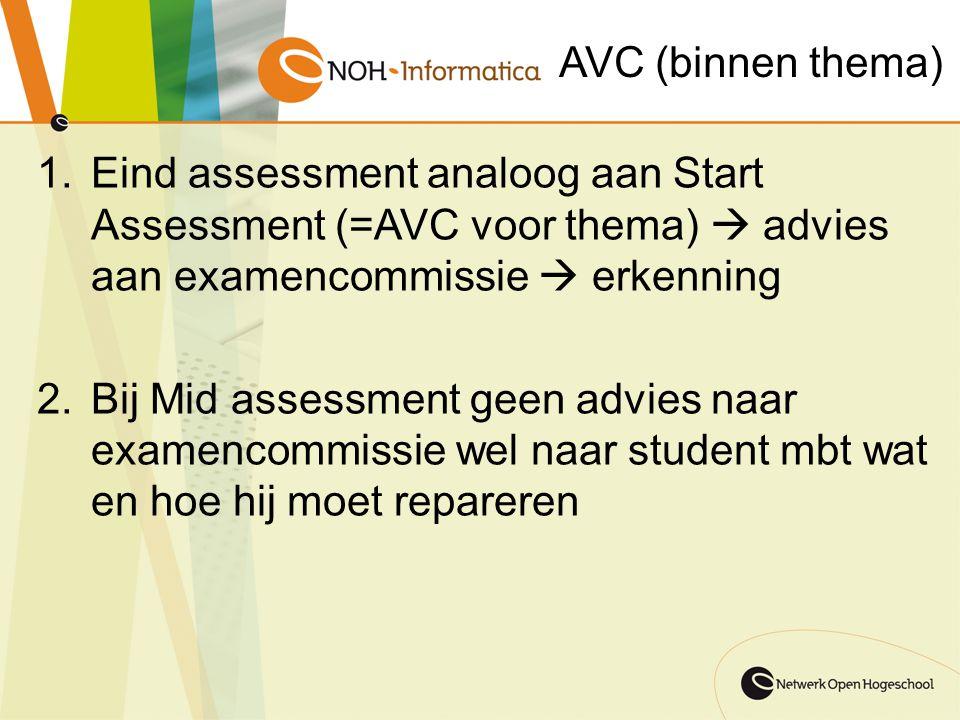 AVC (binnen thema) 1.Eind assessment analoog aan Start Assessment (=AVC voor thema)  advies aan examencommissie  erkenning 2.Bij Mid assessment geen