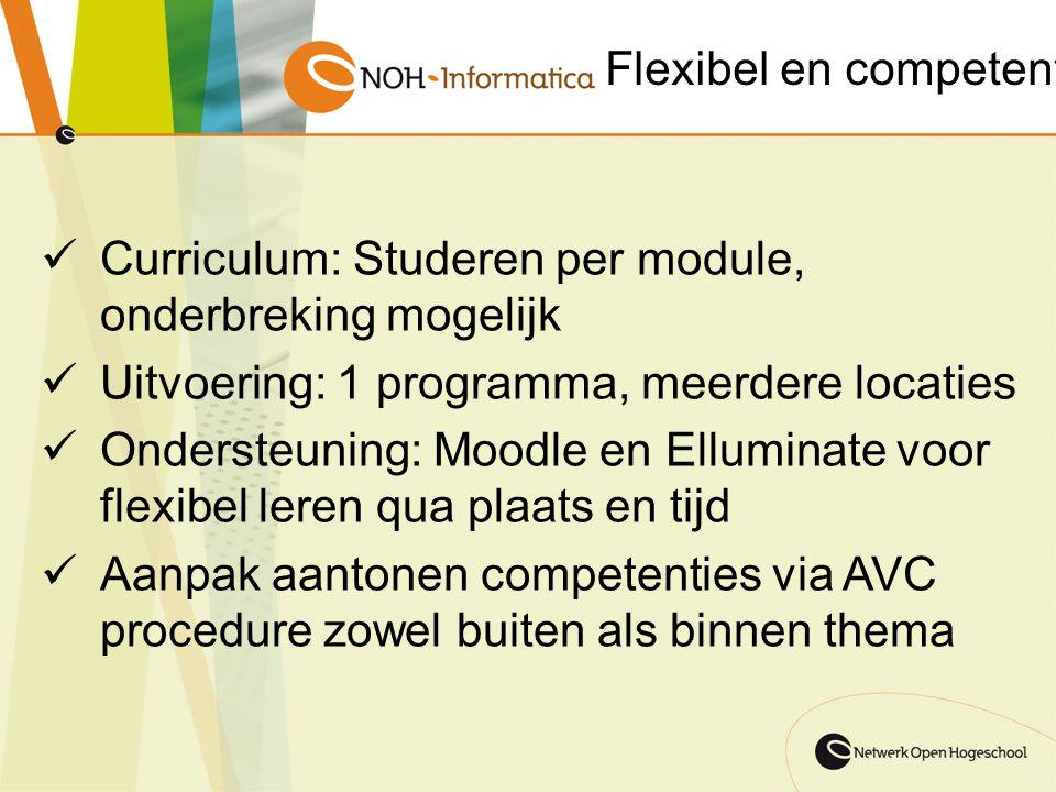 Flexibel en competent Curriculum: Studeren per module, onderbreking mogelijk Uitvoering: 1 programma, meerdere locaties Ondersteuning: Moodle en Ellum