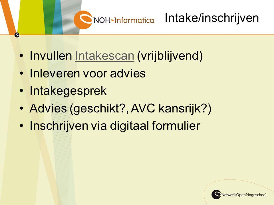 Intake/inschrijven Invullen Intakescan (vrijblijvend)Intakescan Inleveren voor advies Intakegesprek Advies (geschikt?, AVC kansrijk?) Inschrijven via