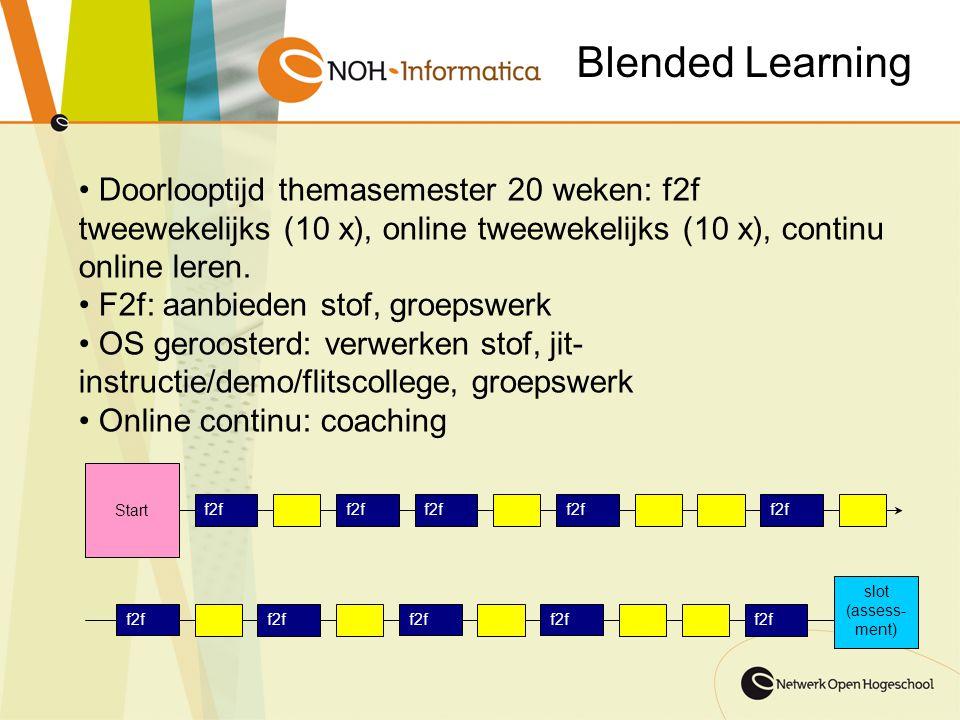 Doorlooptijd themasemester 20 weken: f2f tweewekelijks (10 x), online tweewekelijks (10 x), continu online leren. F2f: aanbieden stof, groepswerk OS g