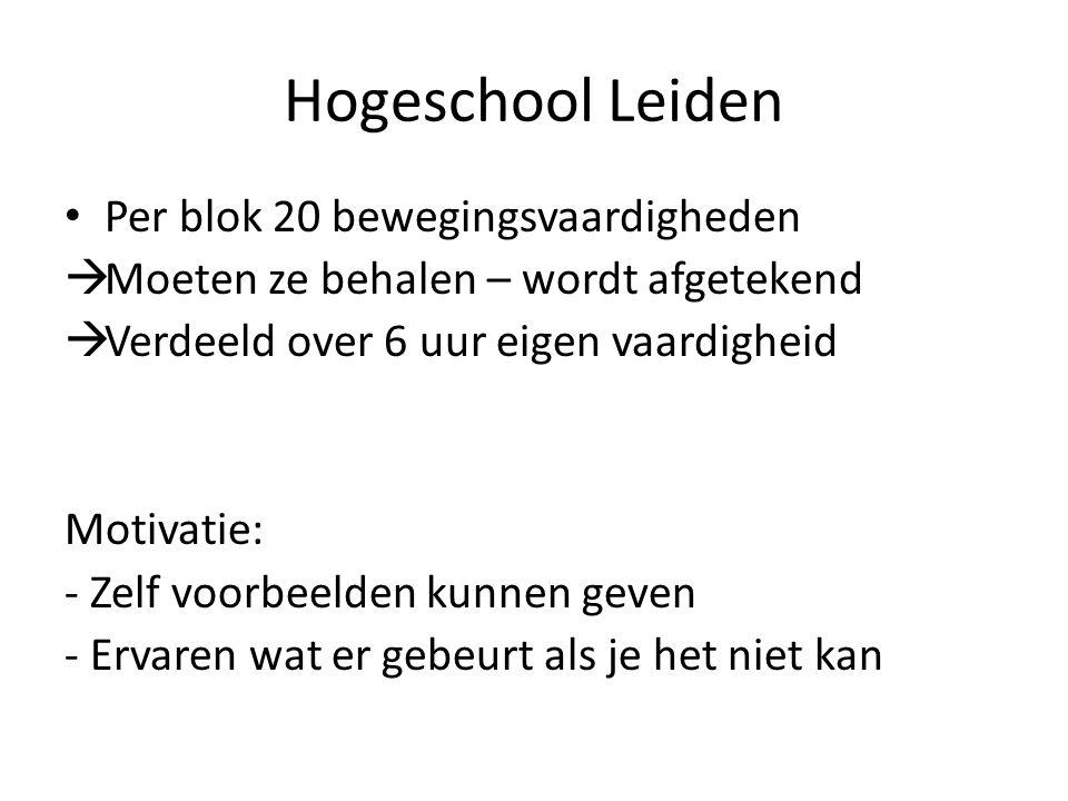 Hogeschool Leiden Per blok 20 bewegingsvaardigheden  Moeten ze behalen – wordt afgetekend  Verdeeld over 6 uur eigen vaardigheid Motivatie: - Zelf voorbeelden kunnen geven - Ervaren wat er gebeurt als je het niet kan