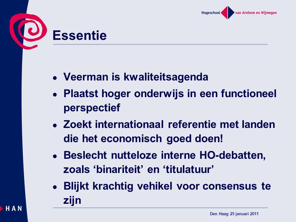Essentie Veerman is kwaliteitsagenda Plaatst hoger onderwijs in een functioneel perspectief Zoekt internationaal referentie met landen die het economisch goed doen.