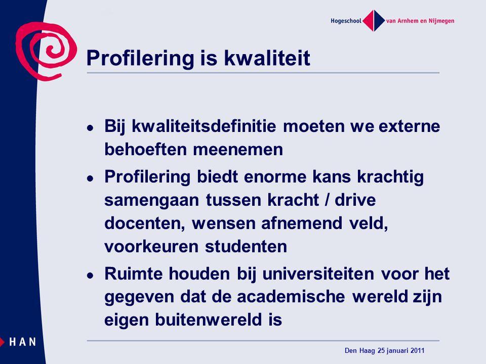 Profilering is kwaliteit Bij kwaliteitsdefinitie moeten we externe behoeften meenemen Profilering biedt enorme kans krachtig samengaan tussen kracht /