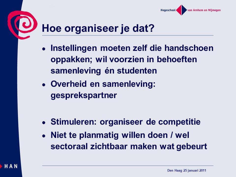 Hoe organiseer je dat? Instellingen moeten zelf die handschoen oppakken; wil voorzien in behoeften samenleving én studenten Overheid en samenleving: g