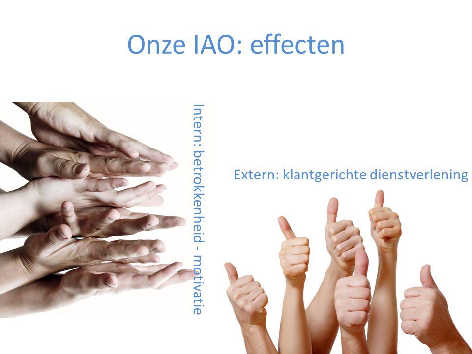 Onze IAO: effecten Extern: klantgerichte dienstverlening Intern: betrokkenheid - motivatie