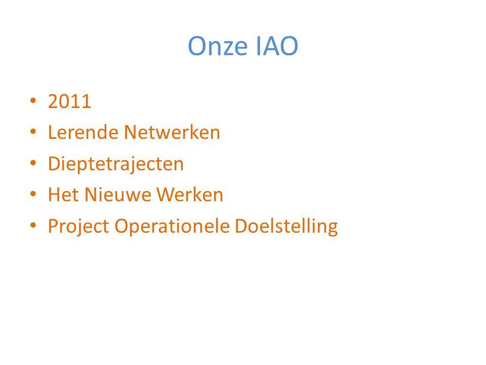Onze IAO 2011 Lerende Netwerken Dieptetrajecten Het Nieuwe Werken Project Operationele Doelstelling