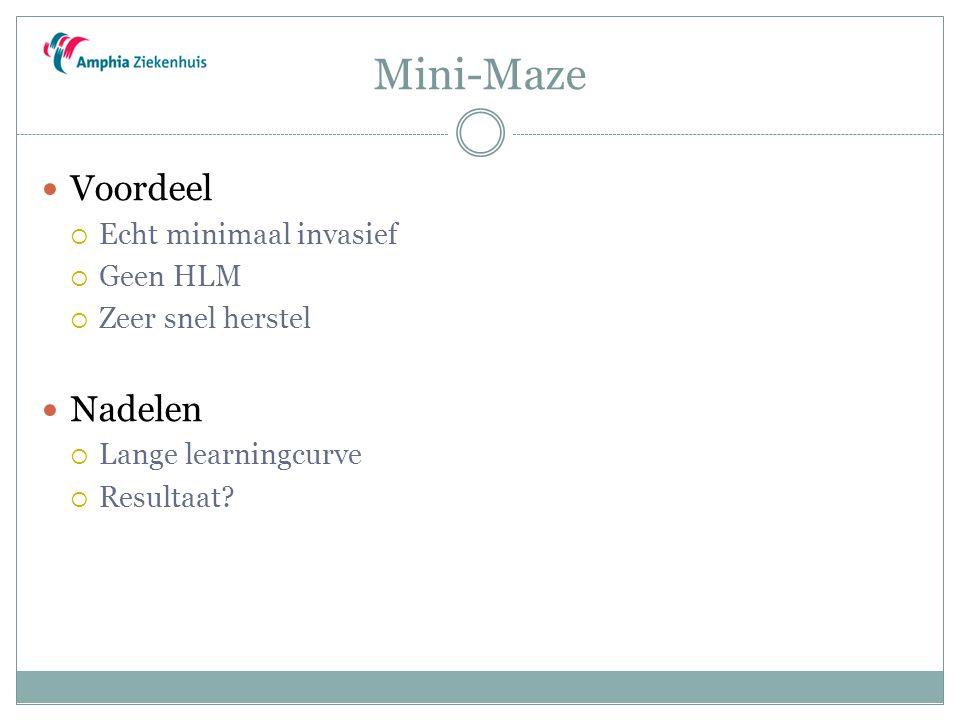 Mini-Maze Voordeel  Echt minimaal invasief  Geen HLM  Zeer snel herstel Nadelen  Lange learningcurve  Resultaat?