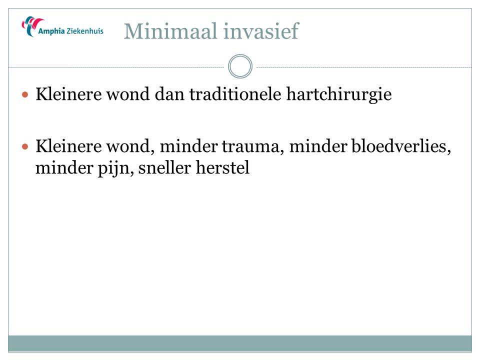 Minimaal invasief Kleinere wond dan traditionele hartchirurgie Kleinere wond, minder trauma, minder bloedverlies, minder pijn, sneller herstel