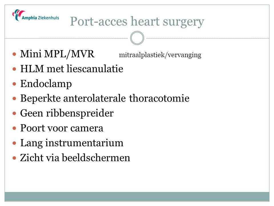 Port-acces heart surgery Mini MPL/MVR mitraalplastiek/vervanging HLM met liescanulatie Endoclamp Beperkte anterolaterale thoracotomie Geen ribbenspreider Poort voor camera Lang instrumentarium Zicht via beeldschermen
