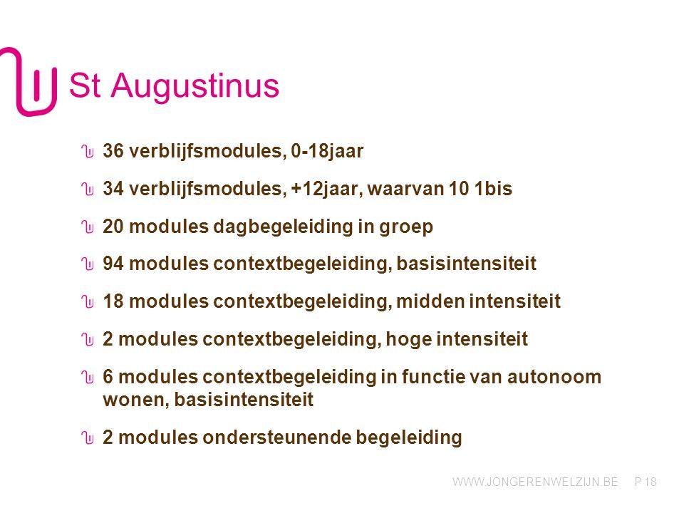 WWW.JONGERENWELZIJN.BE P St Augustinus - Afdelingen De Link (Maasmechelen) 10 dagbegeleiding + context (6-18j, j-m) De Poort (Tongeren) 10 dagbegeleiding + context (6-18j, j-m) De Steiger (Zutendaal) 36 verblijf 0-18j, 24 verblijf 12-18j, 10 verblijf 1bis (j-m) 70 contextbegeleiding + 6 cb aw Eigen Kracht (Tongeren) 24 context 19