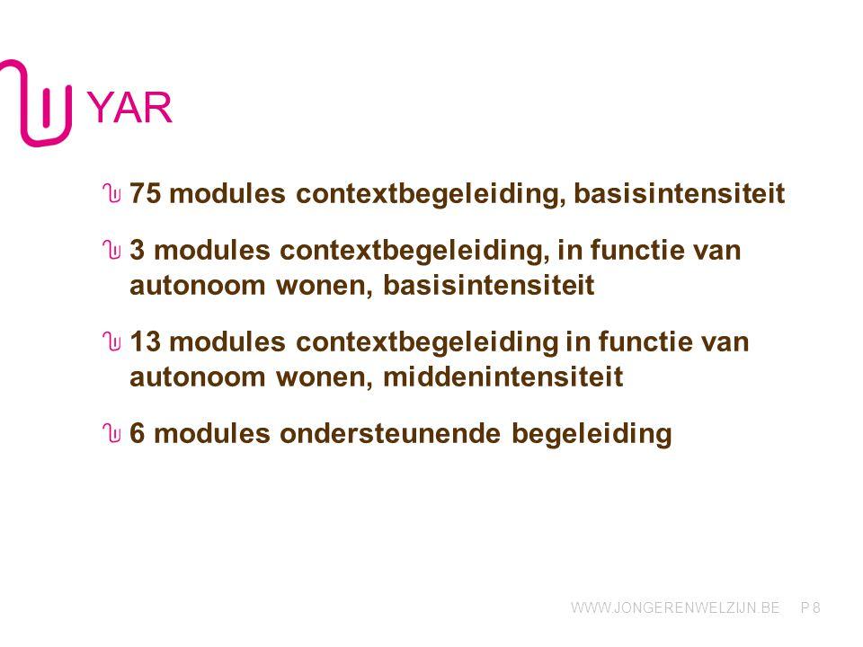 WWW.JONGERENWELZIJN.BE P YAR - Afdelingen YAR Coaching (Hasselt) -Contextbegeleiding: 75 (jongens/meisjes, 15-18j, basisintensiteit) -Ondersteunende Begeleiding: 6 modules (jongens/meisjes, 15-18j) YAR Wonen (Hasselt) -Contextbegeleiding ifv autonoom Wonen: 16 (3 basis, 13 midden) 9