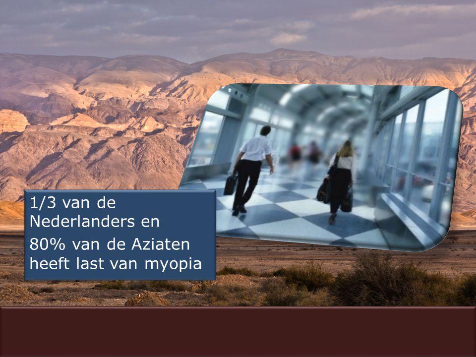 1/3 van de Nederlanders en 80% van de Aziaten heeft last van myopia 1/3 van de Nederlanders en 80% van de Aziaten heeft last van myopia