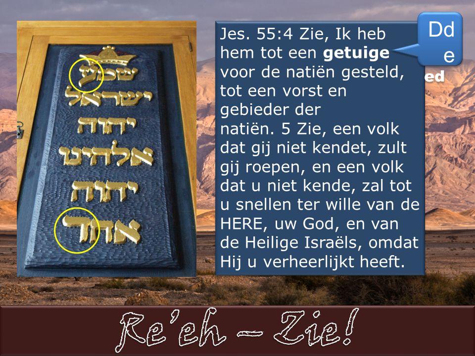 Jes. 55:4 Zie, Ik heb hem tot een getuige voor de natiën gesteld, tot een vorst en gebieder der natiën. 5 Zie, een volk dat gij niet kendet, zult gij
