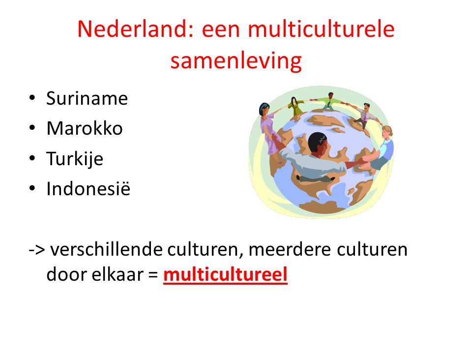 Nederland: een multiculturele samenleving Suriname Marokko Turkije Indonesië -> verschillende culturen, meerdere culturen door elkaar = multicultureel