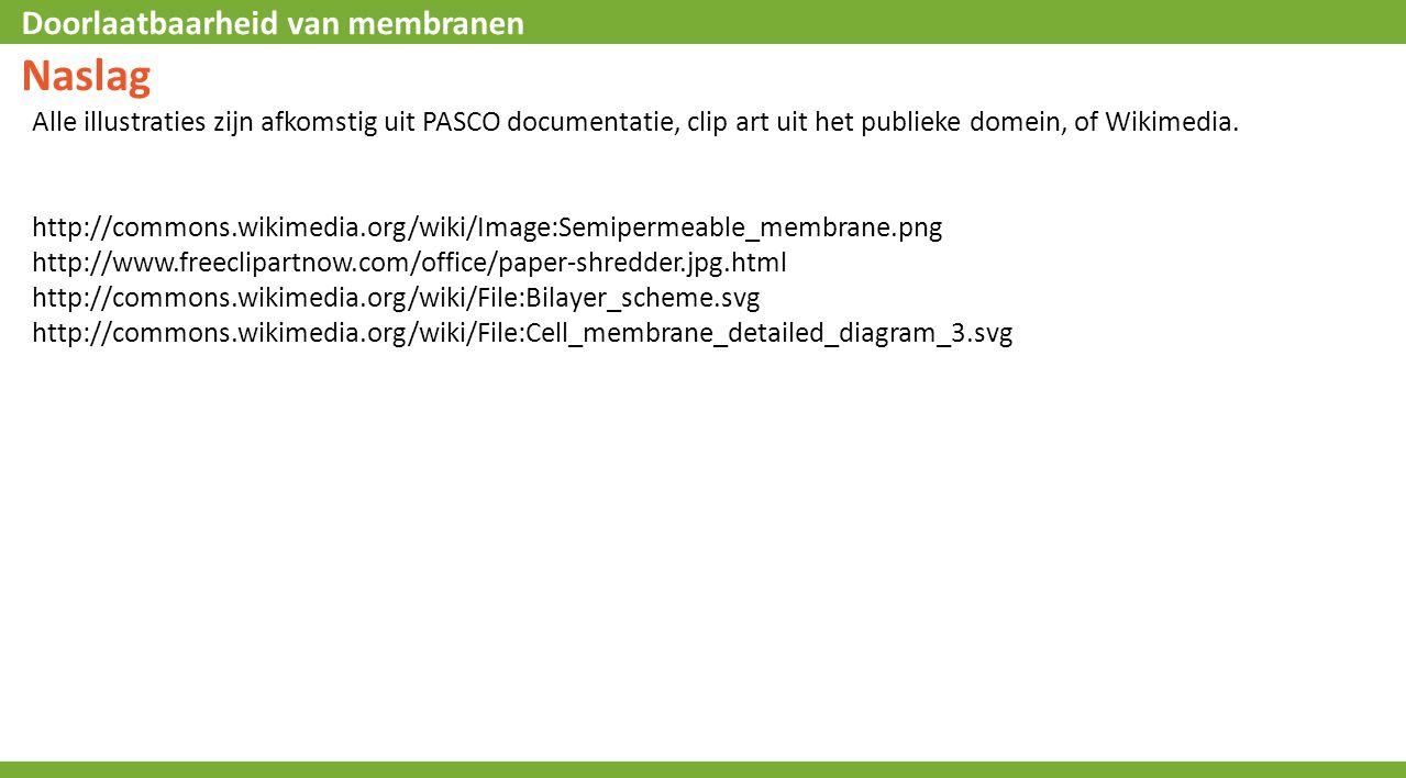 Doorlaatbaarheid van membranen Naslag Alle illustraties zijn afkomstig uit PASCO documentatie, clip art uit het publieke domein, of Wikimedia.