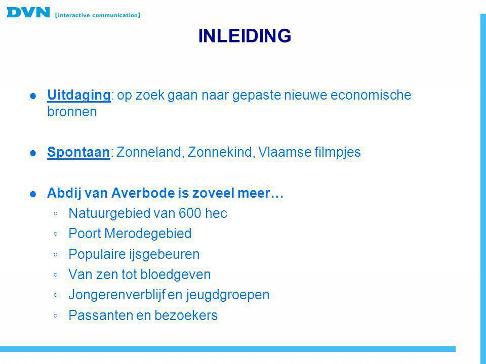 INLEIDING ● Uitdaging: op zoek gaan naar gepaste nieuwe economische bronnen ● Spontaan: Zonneland, Zonnekind, Vlaamse filmpjes ● Abdij van Averbode is
