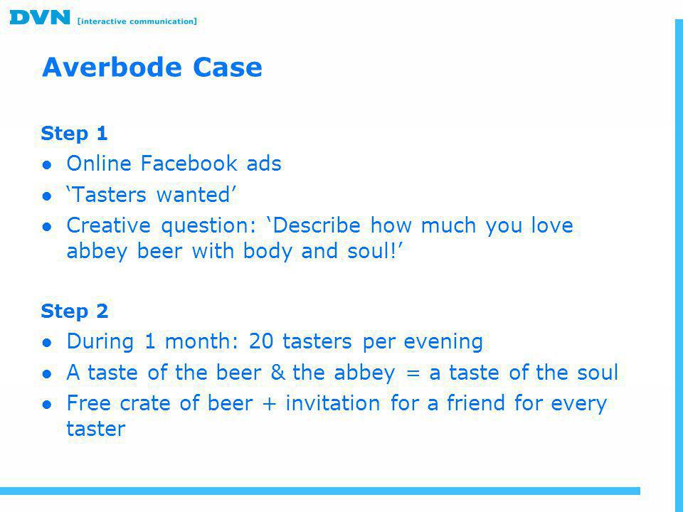 Step 1 ●Online Facebook ads ●'Tasters wanted' ●Creative question: 'Describe how much you love abbey beer with body and soul!' Step 2 ●During 1 month:
